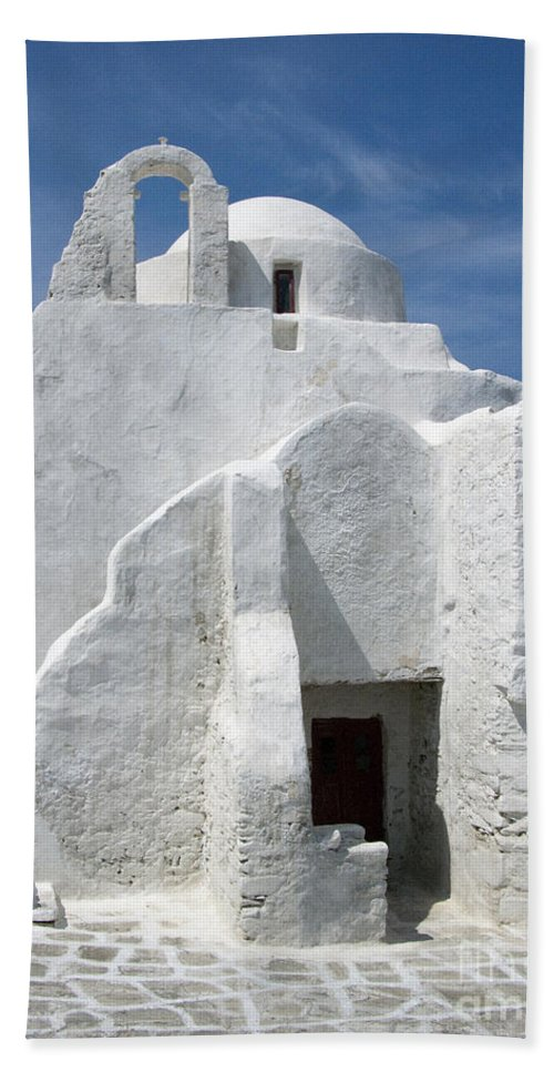 Mykonos Hand Towel featuring the photograph Church In Mykonos by Sandra Bronstein
