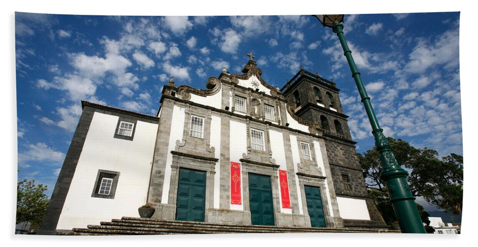 Catholic Hand Towel featuring the photograph Church In Ribeira Grande by Gaspar Avila