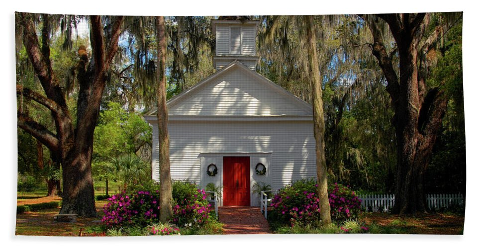 Fine Art Photography Bath Sheet featuring the photograph Church In Spring by David Lee Thompson