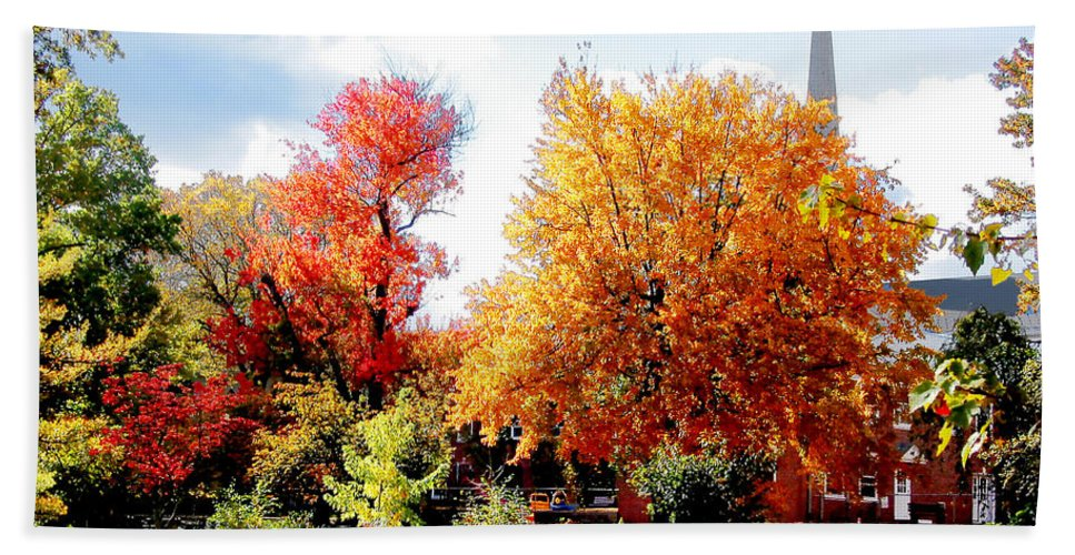 Autumn Hand Towel featuring the photograph Church In The Distance In Autumn by Susan Savad