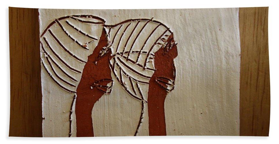 Jesus Hand Towel featuring the ceramic art Church Ladies - Tile by Gloria Ssali