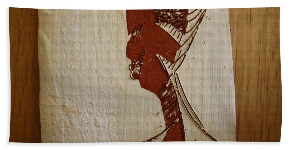 Jesus Bath Sheet featuring the ceramic art Church Lady 10 -tile by Gloria Ssali