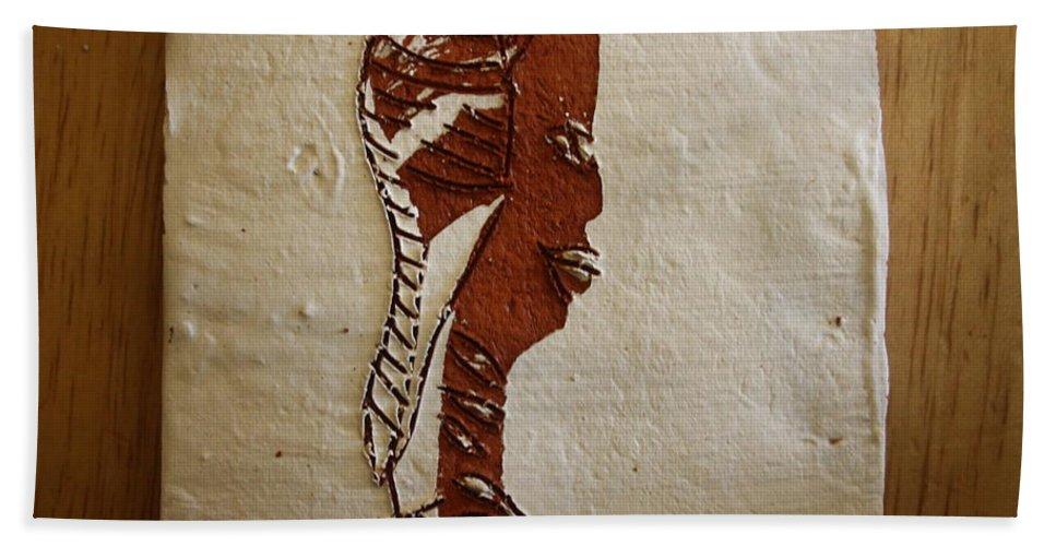 Jesus Bath Sheet featuring the ceramic art Church Lady 11 - Tile by Gloria Ssali