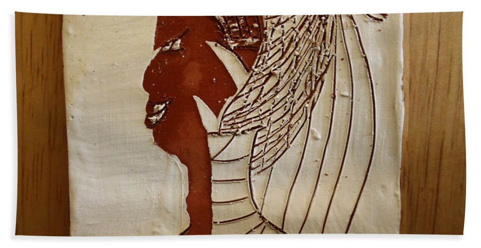 Jesus Hand Towel featuring the ceramic art Church Lady 5 - Tile by Gloria Ssali