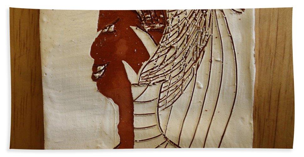 Jesus Bath Sheet featuring the ceramic art Church Lady 5 - Tile by Gloria Ssali