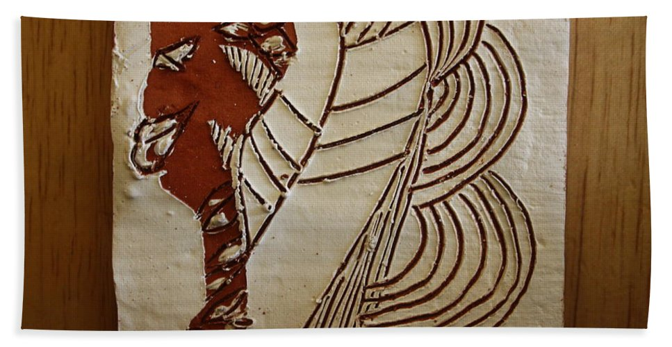 Jesus Bath Sheet featuring the ceramic art Church Lady 6 - Tile by Gloria Ssali