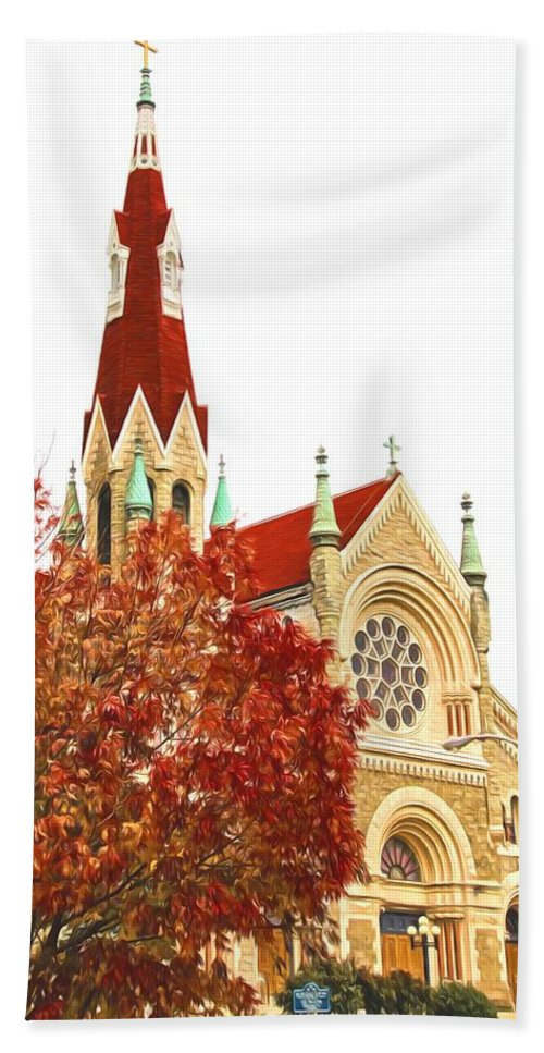 Alicegipsonphotographs Hand Towel featuring the photograph Church Next Door by Alice Gipson
