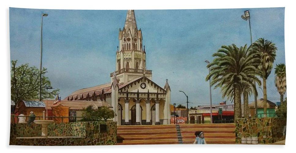 Watercolor Hand Towel featuring the painting Church Of Caldera by Carola Moreno