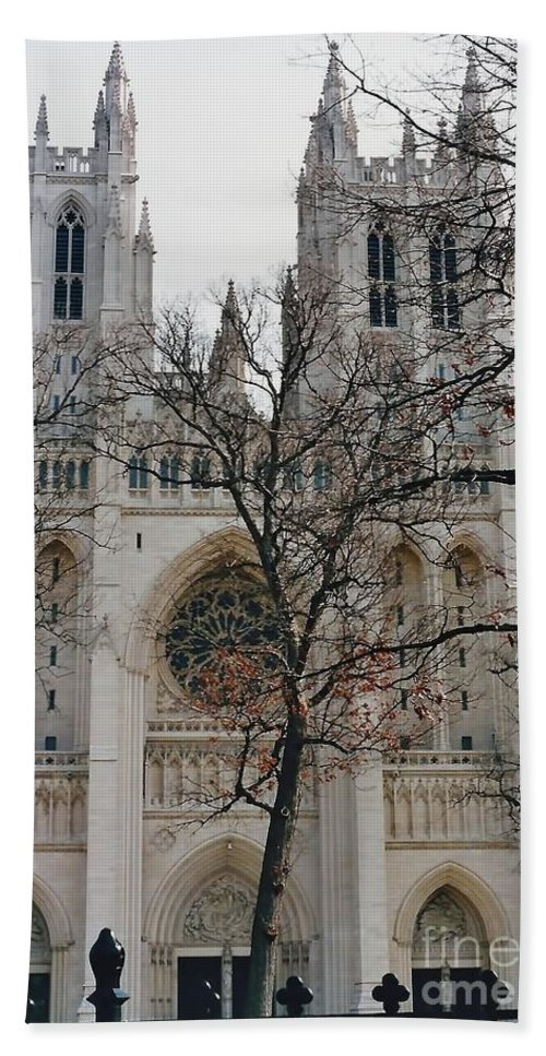 National Cathedral Hand Towel featuring the photograph Church Of The Nation by D Hackett