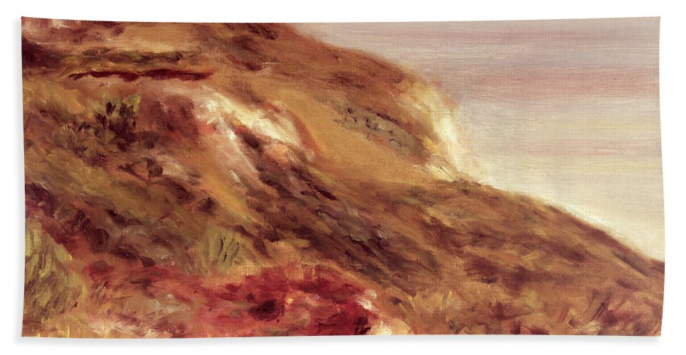Renoir Hand Towel featuring the painting Church On A Clifftop by Pierre Auguste Renoir