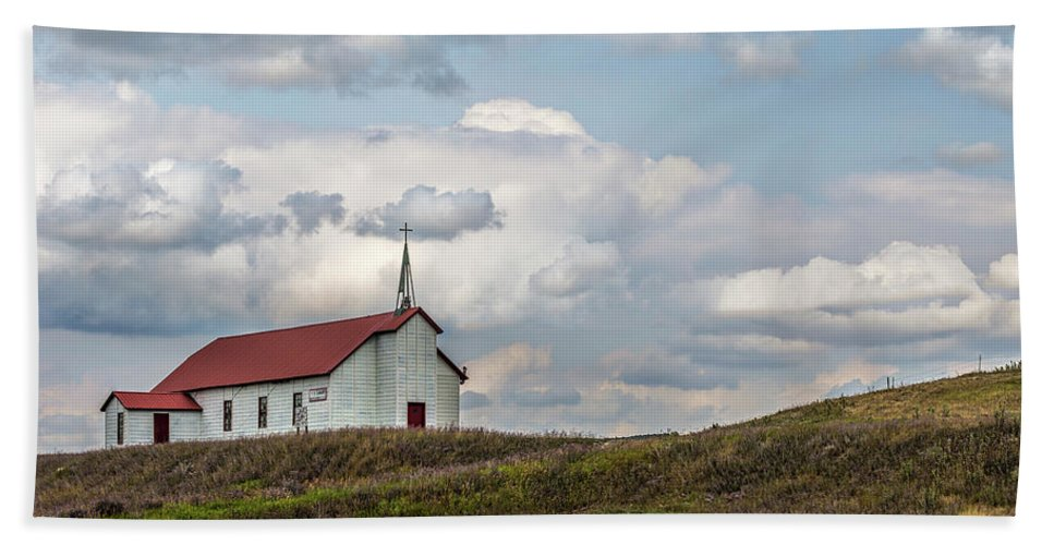 Glacier Bath Sheet featuring the photograph Church On The Hill by Peter Tellone