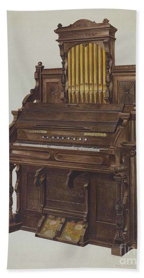 Hand Towel featuring the drawing Church Organ by Amos C. Brinton