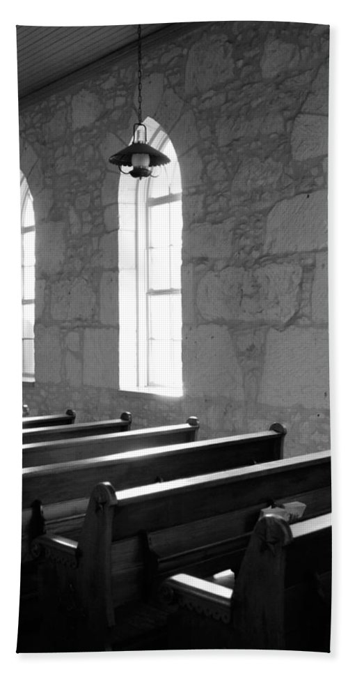 Black And White Hand Towel featuring the photograph Church Pews Black And White by Jill Reger