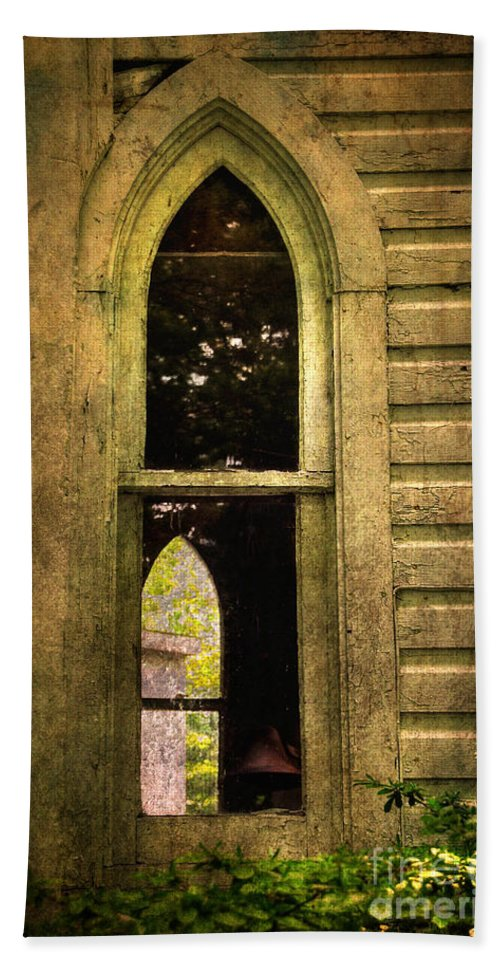 Church Bath Sheet featuring the photograph Church Window Church Bell by Lois Bryan