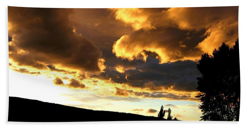 Sunset Hand Towel featuring the photograph Churning Clouds 1 by Will Borden