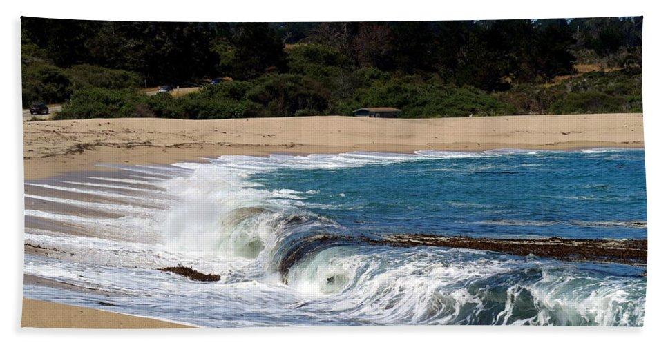 Beach Hand Towel featuring the photograph Churning Surf At Monastery Beach by Joyce Dickens