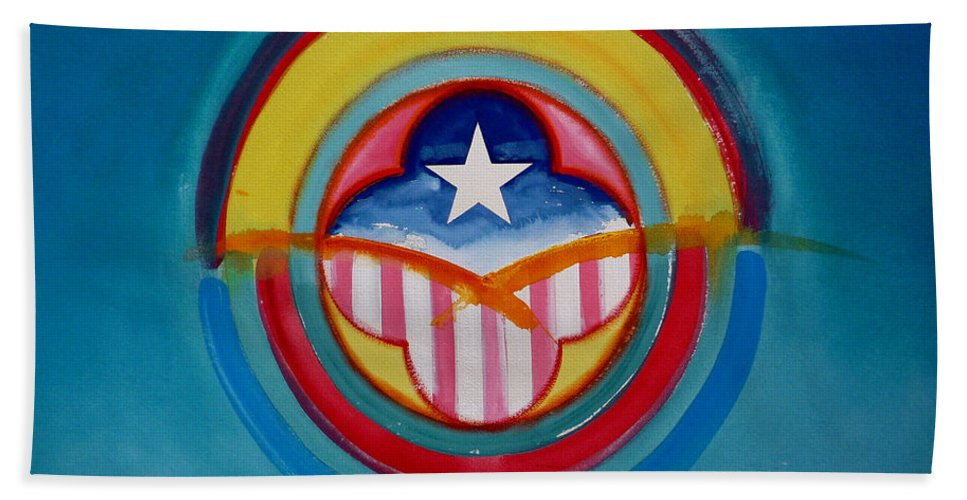 Button Hand Towel featuring the painting CIA by Charles Stuart