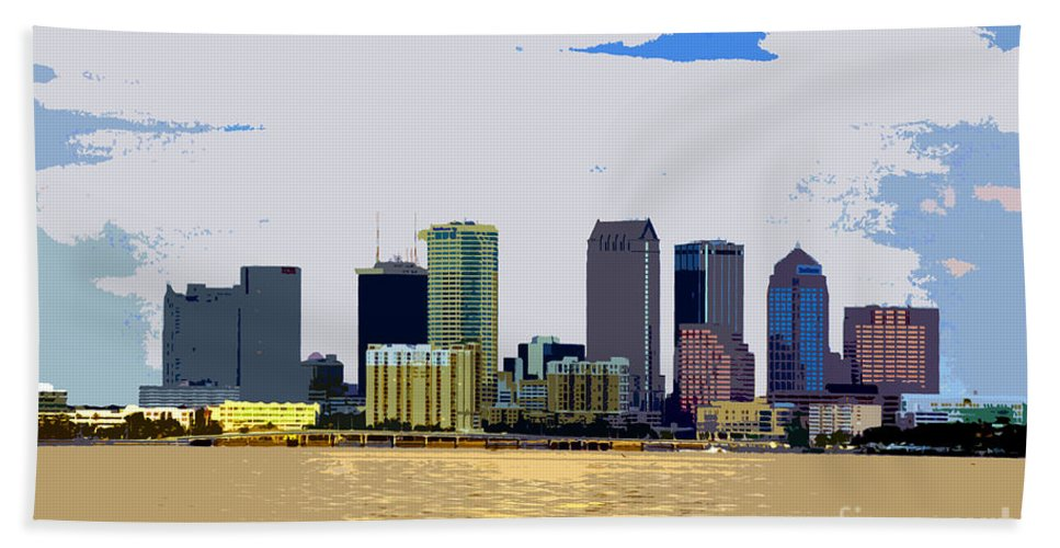 Cigar City Hand Towel featuring the painting Cigar City Skyline by David Lee Thompson