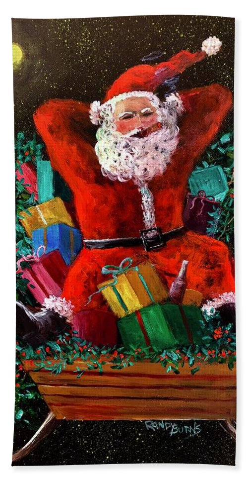 Christmas Hand Towel featuring the painting Cigar Santa by Randy Burns