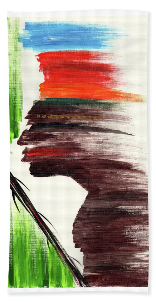 African Hand Towel featuring the painting Cimarron by Juanita Cruz