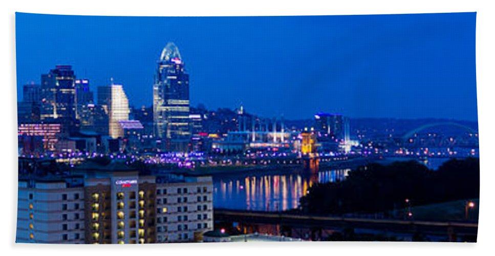 Cincinnati Bath Sheet featuring the photograph Cincinnati Skyline At Night by Jonny D