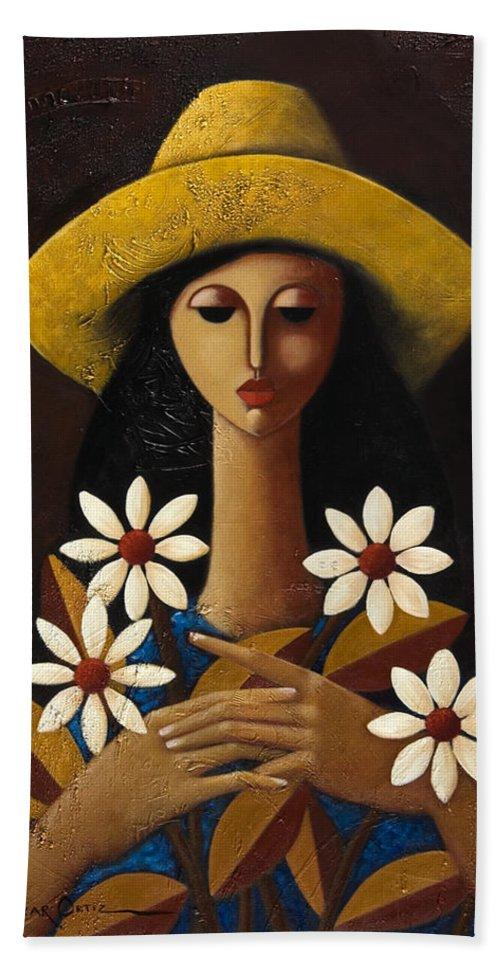 Puerto Rico Bath Sheet featuring the painting Cinco Margaritas by Oscar Ortiz