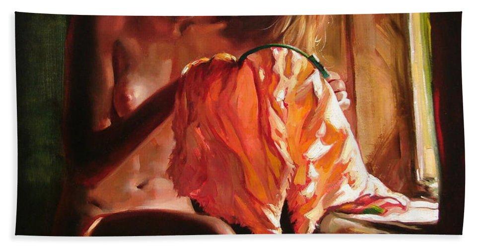 Ignatenko Bath Towel featuring the painting Cinderella by Sergey Ignatenko