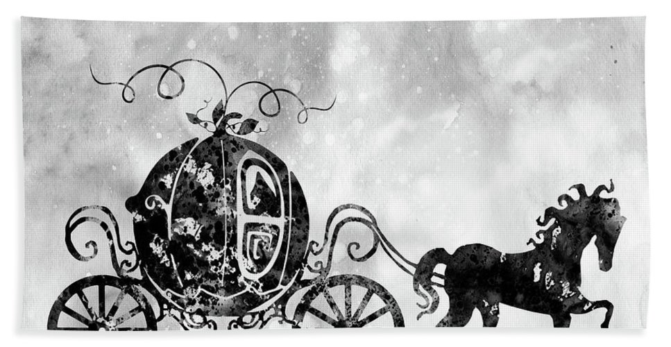 Cinderella's Carriage Bath Sheet featuring the digital art Cinderella's Carriage-black by Erzebet S