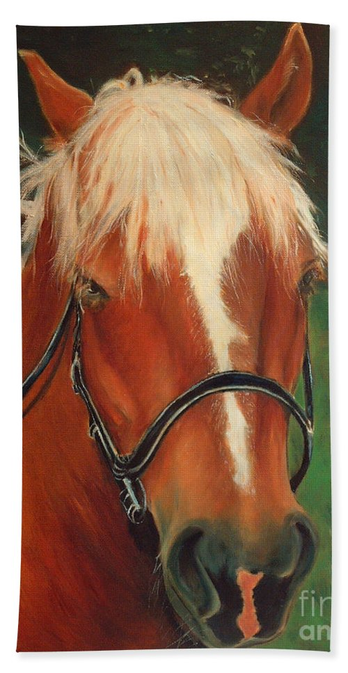 Euqestrian Art Hand Towel featuring the painting Cinnamon The Horse by Portraits By NC