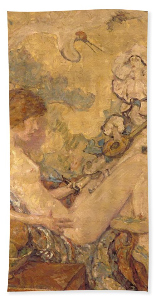 Circe Hand Towel featuring the painting Circe And Anatol 1926 by Reid Robert Lewis