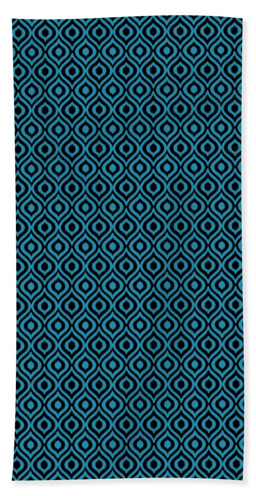 Ikat Hand Towel featuring the digital art Circle And Oval Ikat In Black N18-p0100 by Custom Home Fashions
