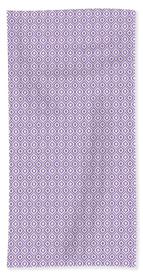 Ikat Hand Towel featuring the digital art Circle And Oval Ikat In White N30-p0100 by Custom Home Fashions
