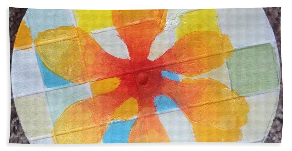 Petals Bath Towel featuring the painting Circle For Daud by Suzanne Cerny