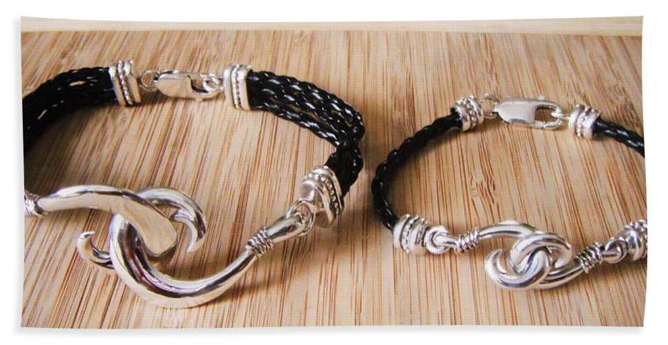 Circle Hook Hand Towel featuring the jewelry Circle Hook Bracelet by Carey Chen