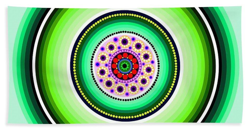 Art Bath Sheet featuring the painting Circle Motif 229 by John F Metcalf