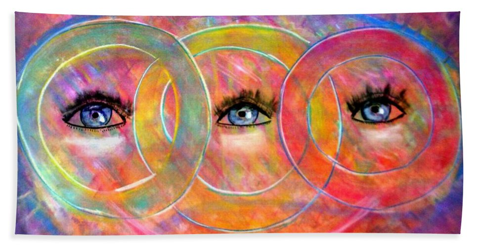 Abstract Bath Sheet featuring the pastel Circle Of Eyes by Melvin Moon