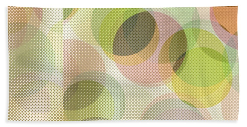 Abstract Hand Towel featuring the digital art Circle Pattern Overlay by Ruth Palmer