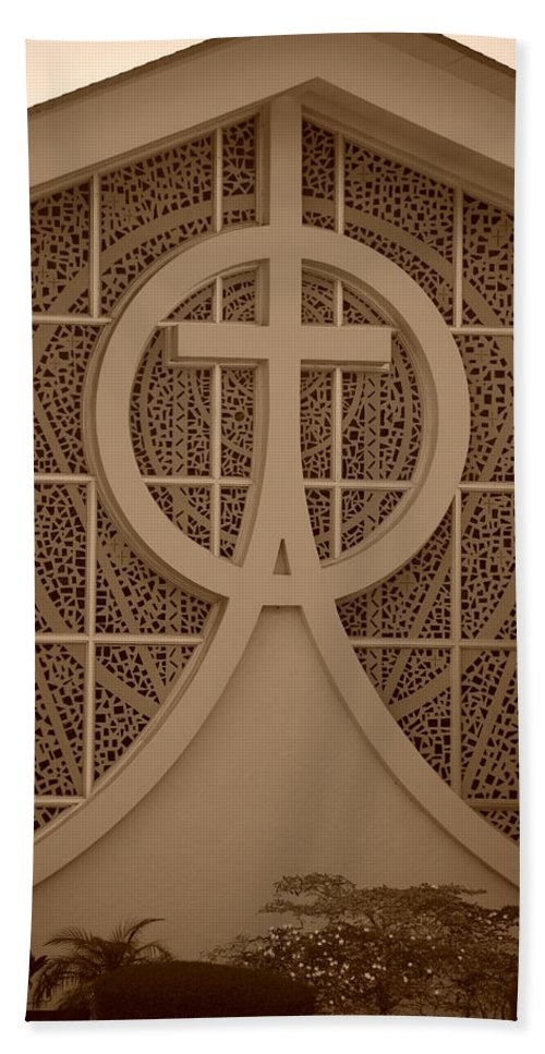 Sepia Hand Towel featuring the photograph Circle T Church by Rob Hans