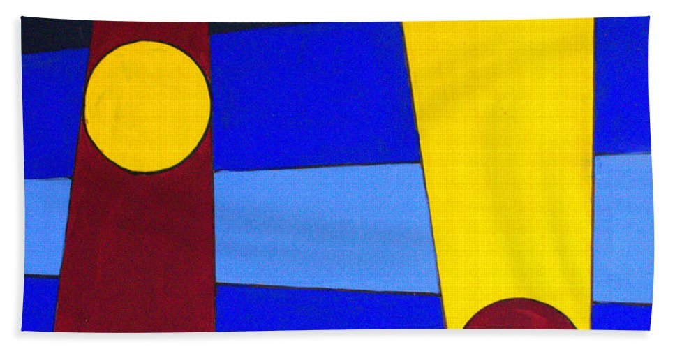 Abstract Hand Towel featuring the painting Circles Lines Color by J R Seymour