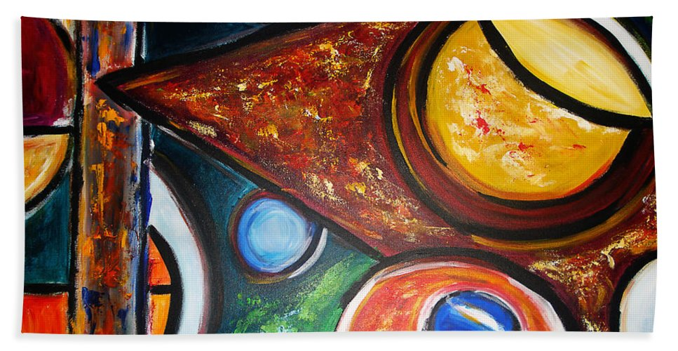 Abstract Painting Hand Towel featuring the painting Circles Of Life by Yael VanGruber