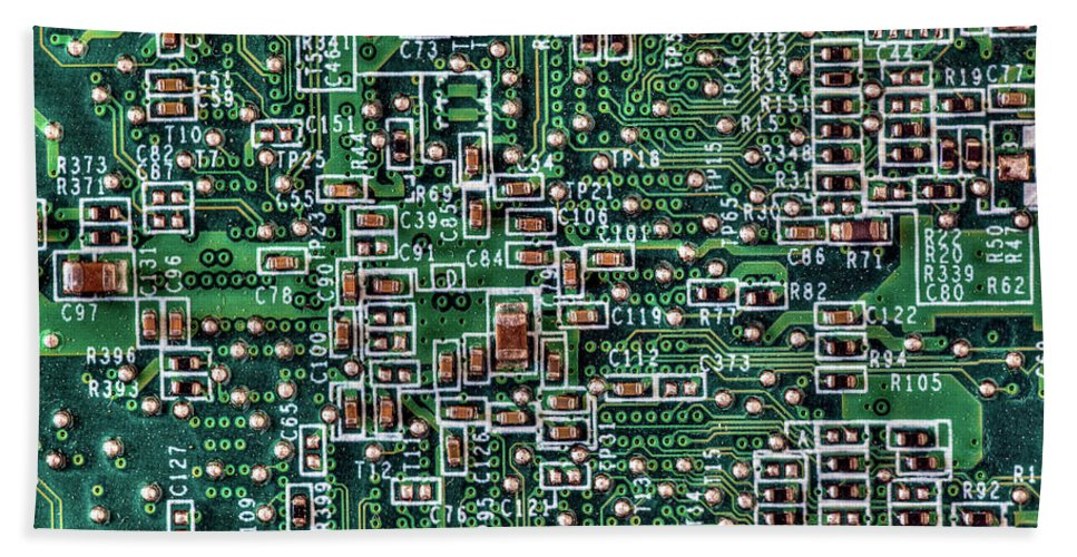 Background Hand Towel featuring the photograph Circuit Board by Art Phaneuf