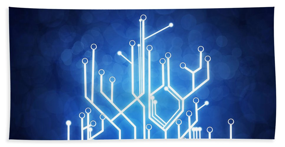 Abstract Bath Towel featuring the photograph Circuit Board Technology by Setsiri Silapasuwanchai