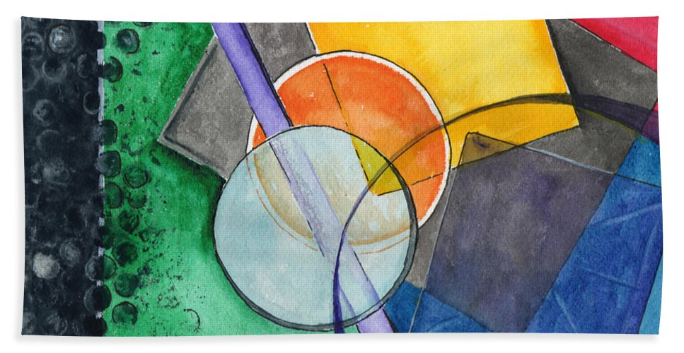 Watercolor Bath Sheet featuring the painting Circular Confusion by Brenda Owen