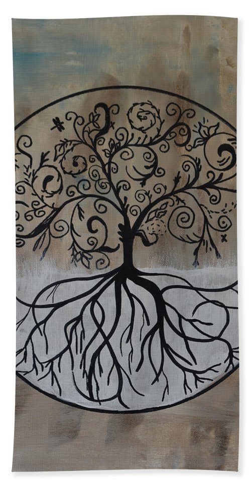 Treesilhouette Bath Sheet featuring the painting Circular Tree Of Life by Deborah Christensen