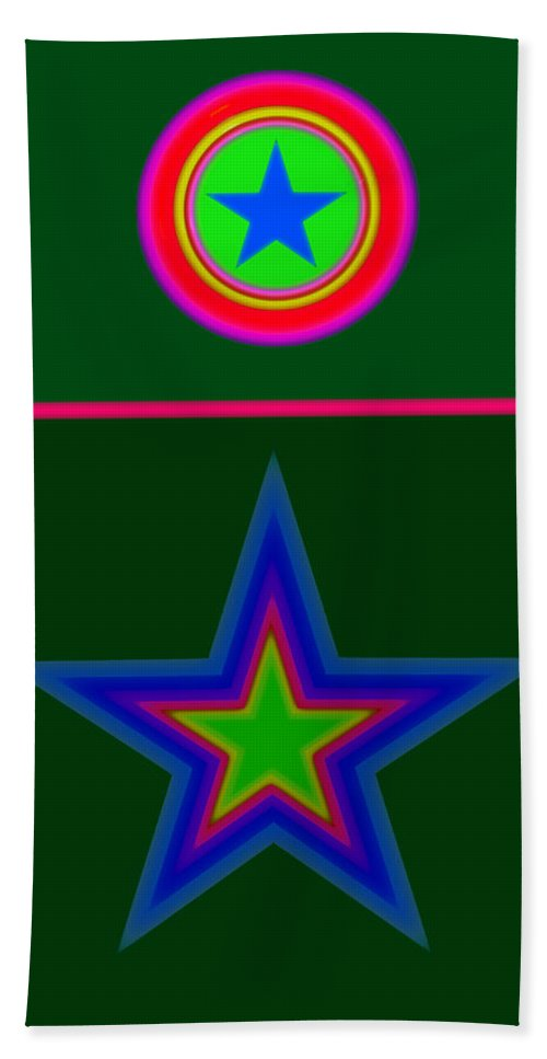 Circus Bath Towel featuring the digital art Circus Green by Charles Stuart