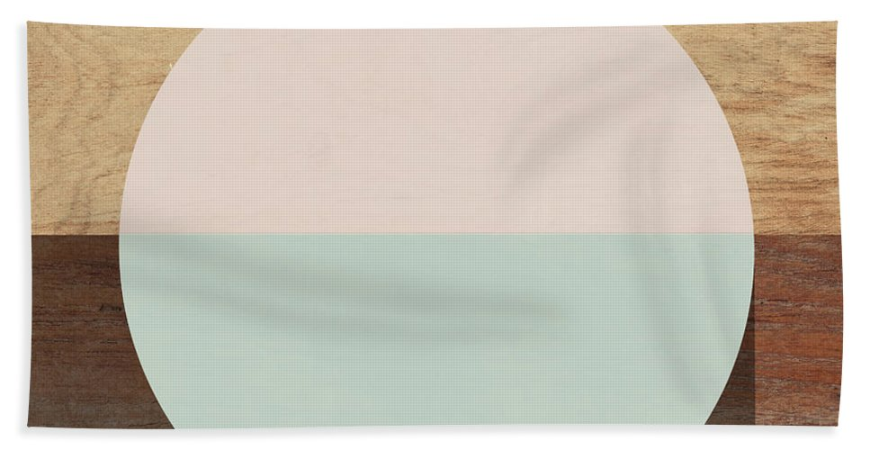 Modern Bath Towel featuring the mixed media Cirkel in Peach and Mint- Art by Linda Woods by Linda Woods