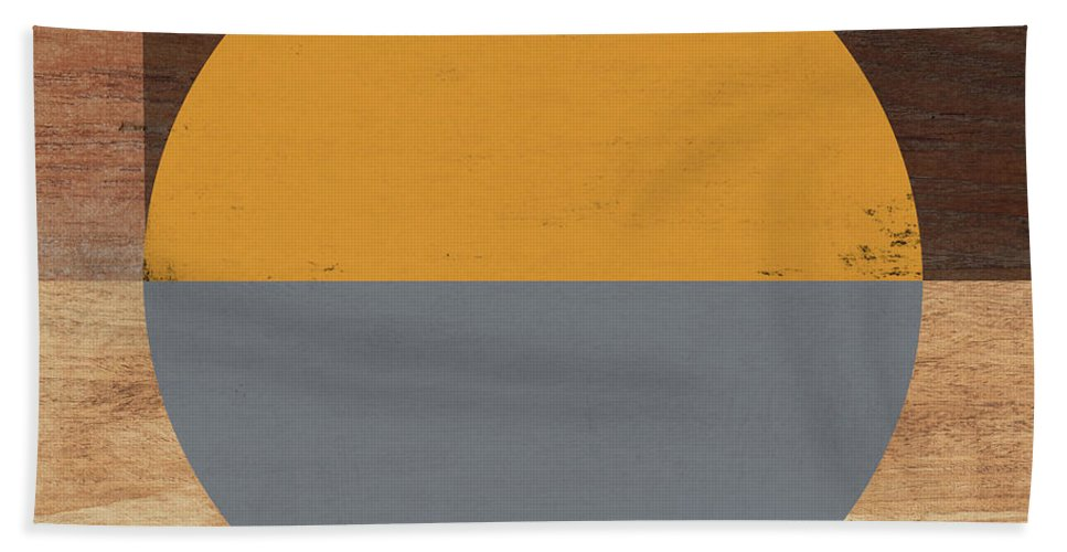 Modern Hand Towel featuring the mixed media Cirkel Yellow and Grey- Art by Linda Woods by Linda Woods