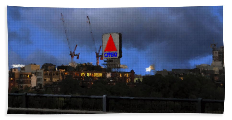 Citgo Sign Hand Towel featuring the digital art Citgo Sign by Edward Cardini