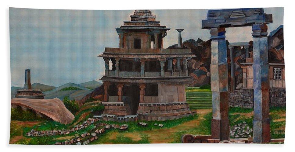 Landscape Hand Towel featuring the painting Cithradurga Fort by Usha Rai