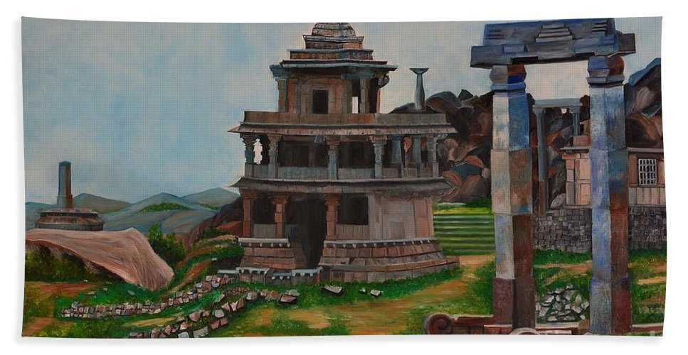 Landscape Bath Towel featuring the painting Cithradurga Fort by Usha Rai